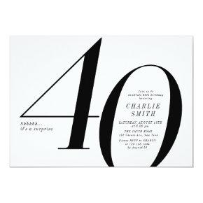 Modern minimalist black and white 40th birthday invitation