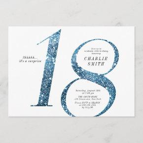 Modern minimalist faux blue glitter 18th birthday invitation