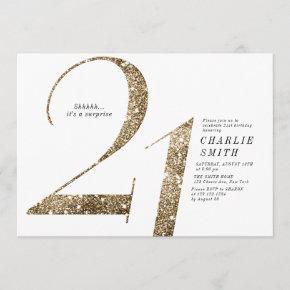 Modern minimalist faux gold glitter 21st birthday invitation