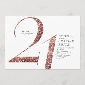 Modern minimalist rose gold glitter 21st birthday invitation