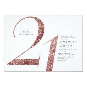 Modern minimalist rose gold glitter 21st birthday invitation