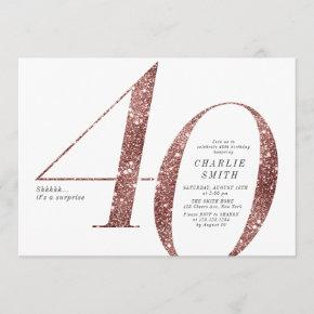 Modern minimalist rose gold glitter 40th birthday invitation