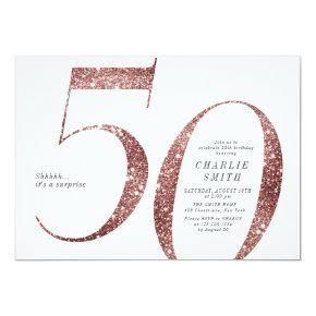 Modern minimalist rose gold glitter 50th birthday invitation