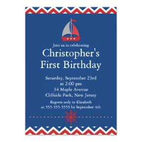 Modern Nautical Sailboat Birthday Party Invitation