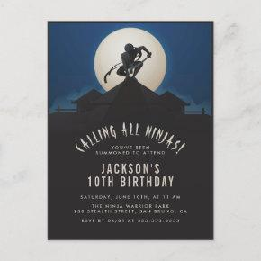 Modern Ninja on Roof Top Silhouette Birthday Party Invitation Post