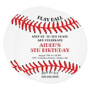 Modern Play Ball Baseball Birthday Invitations