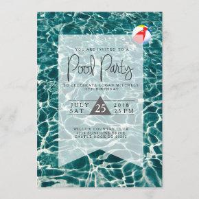 Modern Pool Party | Birthday Invitation