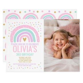 Modern Rainbow Birthday Invitation