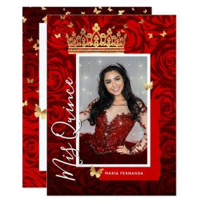 Modern Red Black Gold Elegant Photo Quinceanera Invitation