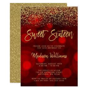 Modern Red Bokeh Gold Glitter Sweet 16 Invitation