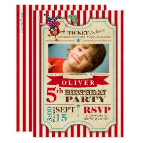 Modern Red Circus Ticket | Birthday Invitation