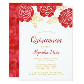 Modern Red Gold Roses Quinceanera