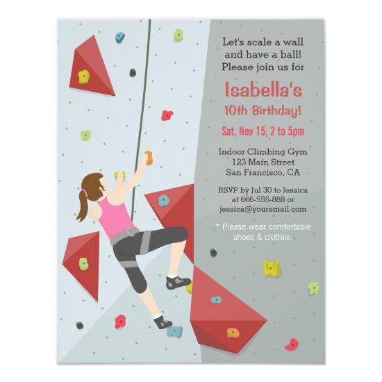 Modern Rock Climbing Birthday Party Invitations Candied Clouds