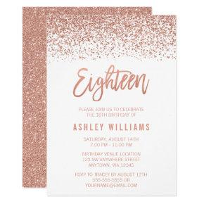 Modern Rose Gold Faux Glitter 18th Birthday Invitations