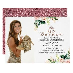 Modern Rose Gold Floral Photo Quinceañera Invitation