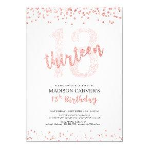 Modern Rose Gold Glitter Confetti 13th Birthday Invitation