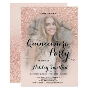 Modern rose gold glitter ombre photo Quinceañera Card