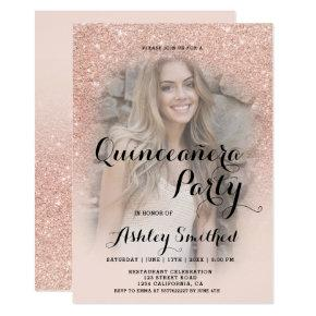 Modern rose gold glitter ombre photo Quinceañera Invitation