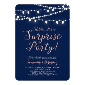 Modern Rose Gold & Navy Surprise Birthday Party Invitations
