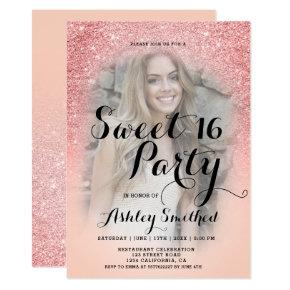 Modern sangria glitter orange photo Sweet 16 Invitation