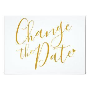 Modern Script Gold Change the Date New Plan Invitation