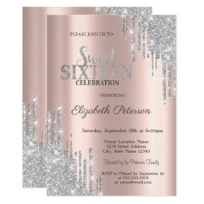 Modern Silver Glitter Drips Rose Gold Sweet 16 Invitation