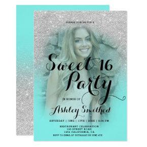 Modern silver glitter teal aqua photo Sweet 16 Invitation