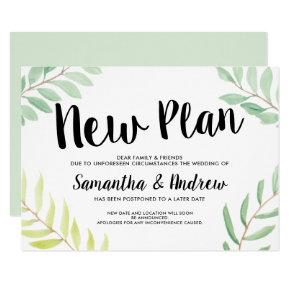 Modern spring greenery watercolor new plan wedding invitation