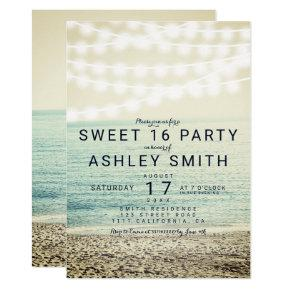 Modern string lights beach photo Sweet 16 Invitation
