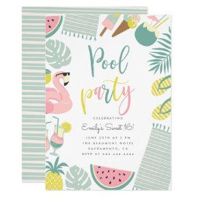 Modern Summer Pool Party Script Sweet 16 Birthday Invitation