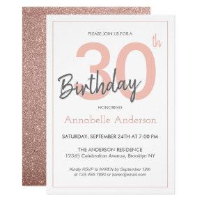 Modern Trendy Pink Rose Gold Glitter 30th Birthday Invitations