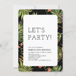 Modern Tropical Summer Adult Birthday Party Invitation