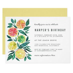 Modern Watercolor Citrus Birthday Party Invitation