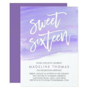 Modern Watercolor Purple Sweet Sixteen Invitation