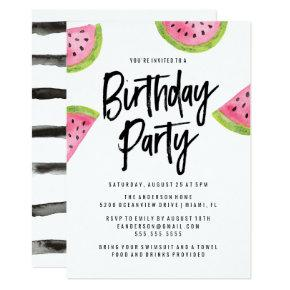 Modern Watermelon Birthday Party Invitations