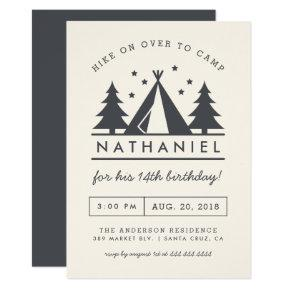 Modern Wigwam in the Woods Birthday Camp Party Invitation