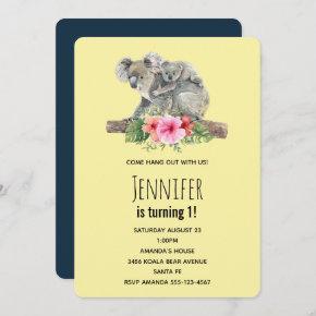 Mom & Baby Koala Bears Cute Watercolor Birthday Invitation