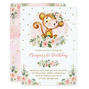 Monkey 1st Birthday Blush Pink Floral Wild One Invitation