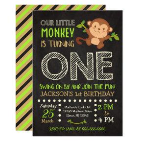Monkey 1st Birthday Invitation for a Boy