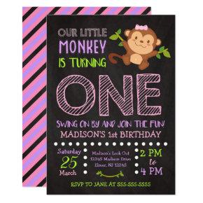 Monkey 1st Birthday Invitation for a Girl