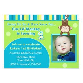 Monkey Birthday Invitation 5x7 Photo Card