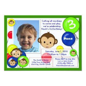 Monkey birthday Invitations blue red green (photo)