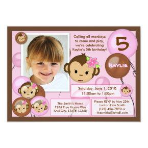 Monkey birthday invitation pink brown (photo)