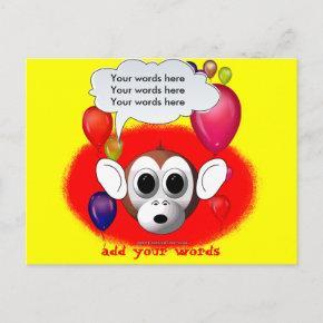 Monkey Birthday Party Invitation PostInvitations