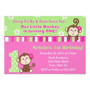 Monkey Girl 1st Birthday Invitation