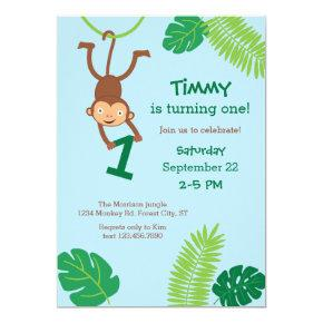 Monkey in the Jungle First Birthday Invitation