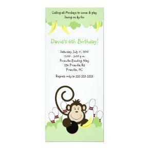 Monkey Jungle Safari Bowling Party 4x9 Invitation