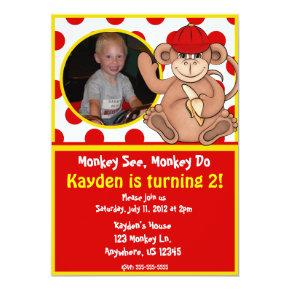 Monkey Kids Photo Birthday Invitation