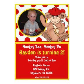Monkey Kids Photo Birthday Invitation