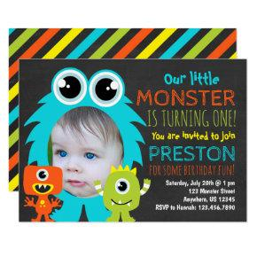 Monster 1st Birthday Invitation with Photo